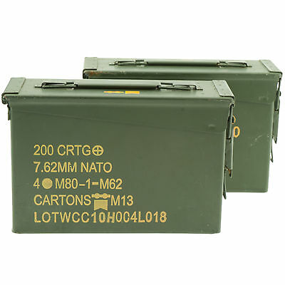 2 pack--.30 cal (7.62 mm) ammo can (M19A1)