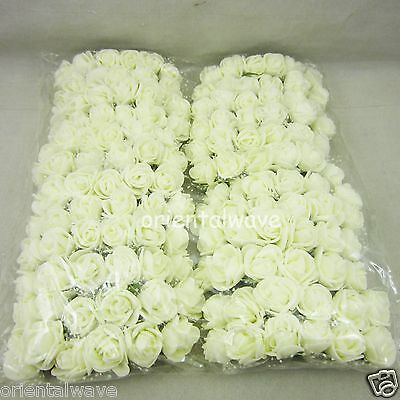 144pcs Creamwhite 20mm Mini Artificial Organza Foam Roses for Corsages Favours
