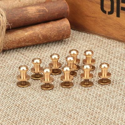 10pcs Solid Brass Screw In Button Head Screw Nail Rivets Belt Leather Craft Tool