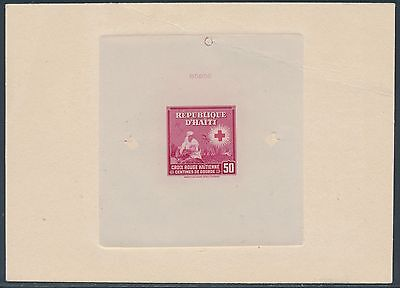 "Haiti #367P Die Proof On India, Sunk On Card W/ Control No. ""red Cross"" Bs3584"