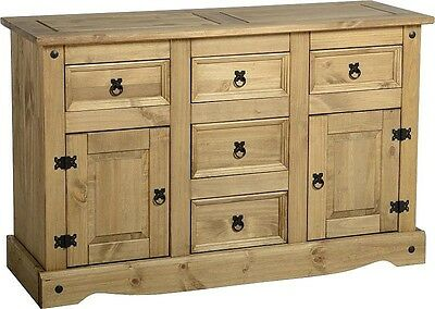 CORONA Distressed Waxed Pine Large Sideboard With 2 Doors And 5 Drawers
