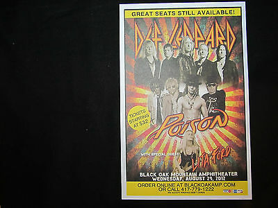 Def Leopard and Poison With Lita Ford Mini Concert Poster / Flyer Aug.29th 2012