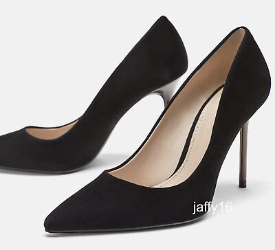 bf3742177e1 Zara New Leather Court Shoes With Metallic Heel Detail Black 35-42 Ref.1222