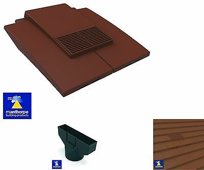 Plain In Line Roof Tile Vent Clay & Concrete Tile & Pipe Adaptor 4 Colour Choice