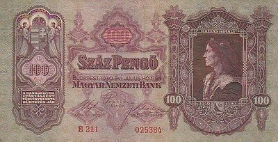 Hungary P98, 100 Pengo  King Mátyás / Royal Palace in Budapest 1930