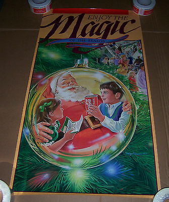 "Enjoy The Magic Of The Season Coca Cola Christmas Poster Advertising 39"" X 21"""