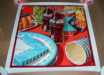 "Coca Cola  Party Cookout Beans & Chips Poster Coke Advertising 20 7/8"" X 21"""