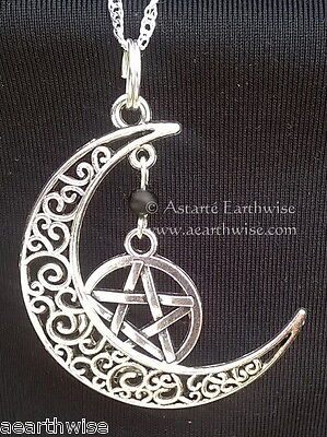 1 x PENTAGRAM & CRESCENT MOON PENDANT & CHAIN Wicca Pagan Witch Goth PENTACLE