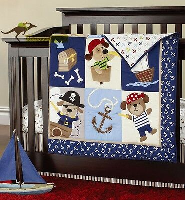 New Baby Boy 7 Pieces Pirate Doggy Theme Cotton Nursery Bedding Crib Set