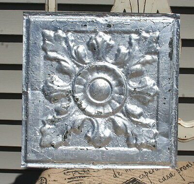 "12"" Antique Tin Ceiling Tile -- Silver Colored Paint -- Large Flower Design - A2"