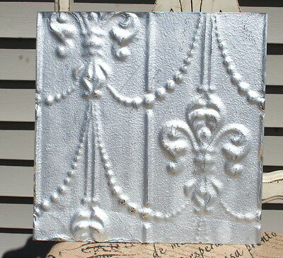 "12"" Antique Tin Ceiling Tile -- Silver Paint -- Fleur de Lis  Design -- A2"