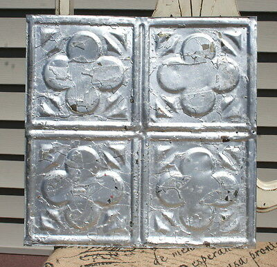 "12"" Antique Ceiling Tin  -- Silver Colored Paint -- Abstract Clover -- A2"