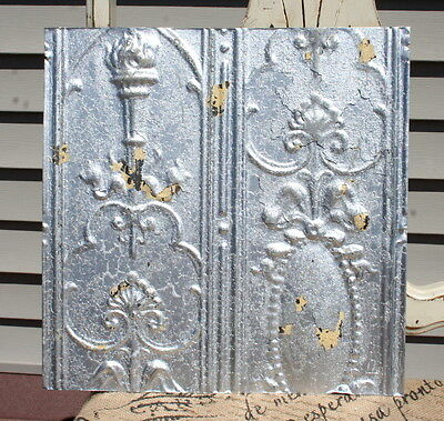 "12"" Antique Tin Ceiling Tile - Distressed Silver Colored Paint - Ornate Wall Tin"