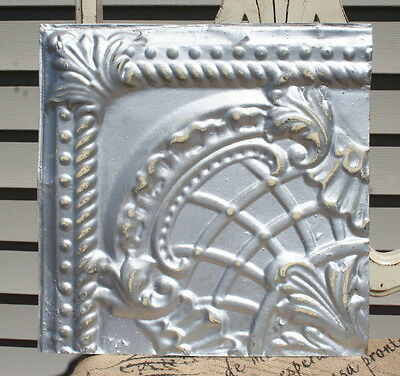 "12"" Antique Tin Ceiling Tile -- Distressed Silver Colored Paint - Pretty Design"