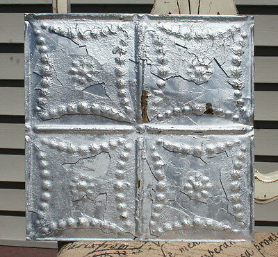 "12"" Antique Tin Ceiling Tile --- Distressed Silver Paint -- Small Flower Design"