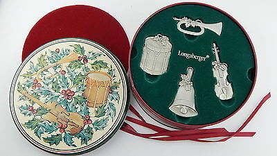 Longaberger Basket 2003 Christmas Sounds Of The Season Pewter Ornament & Tin
