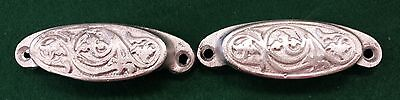 2 Drawer Pulls     Embossed Cast Iron   Fancy  Victorian Style  Painted Silver