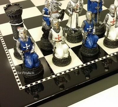 MEDIEVAL TIMES CRUSADES WARRIOR Blue & White CHESS SET BLACK BOARD 15""