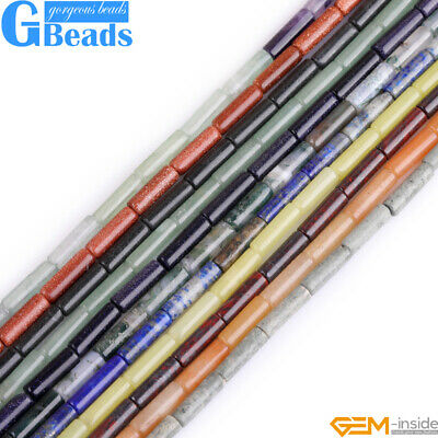 """4x12mm Assorted Stones Column Tube Beads For Jewerly Making Free Shipping 15"""""""