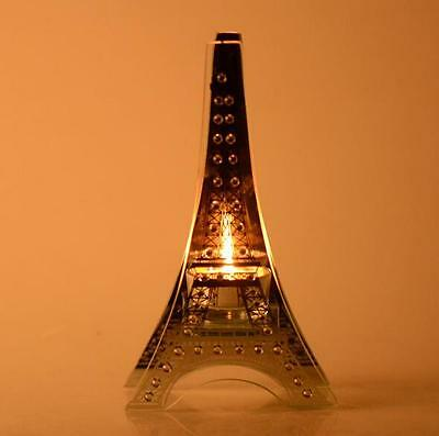New Glass Paris Eiffel Tower Candle Holder Stand Home Decor 20CM