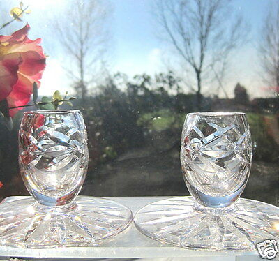 Webb Corbett Crystal 2 Candlesticks Leaf CUT Wide Base A Pair of Candle Holders