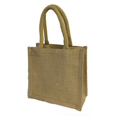 Jute Bags (natural) 20 x 20 x 10cm (S1) Hessian Shopping Crafting Gift Bag