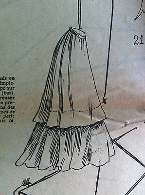 FRENCH ORIGINAL SEWING PATTERN sheet JOURNAL DEMOISELLES May 1st,1905