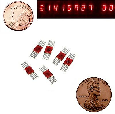 6x Vintage USSR 7-seg Red LED Display Common Anode SEL520 / L134G