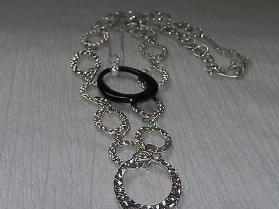 Estate Lot of 2 Hammered Silvertone Open Oval Chain Link & Black Plastic Pendant