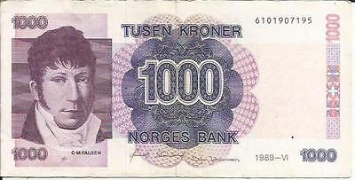Norway 1000 Kroner 1989  P 45. Vf Condition. 3Rw 3Agost