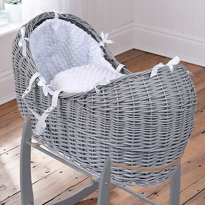 Clair De Lune White Dimple Grey Wicker Baby Moses Basket / Noah Pod & Mattress