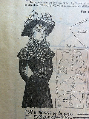 December 22 1900 ORIGINAL FRENCH SEWING PATTERN SHEET MODE PRATIQUE