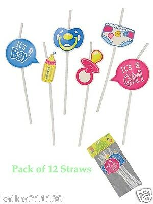 baby shower unisex boy girl pack of 12 prop straws