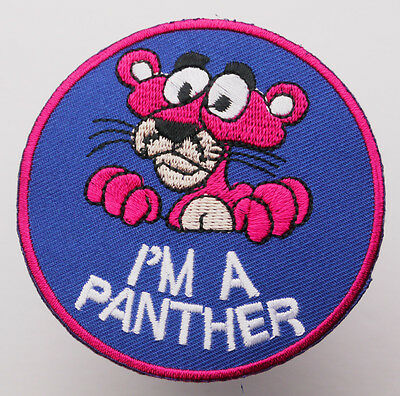 """THE PINK PANTHER """"I'm A Panther"""" Cool Quality Embroidered Character Patch..."""