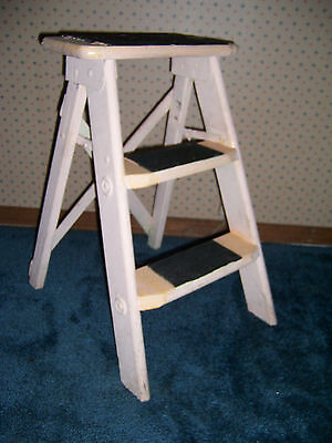 Vintage Wooden 2 Step Folding Step Stool Ladder Shabby Country Primitive Decor..