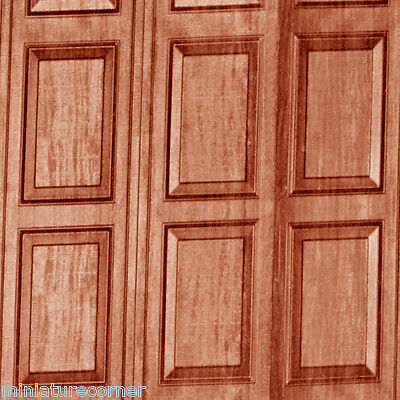 Dolls House Wallpaper Wood Panels Matte Card 1/12th or 1/24th WP01n