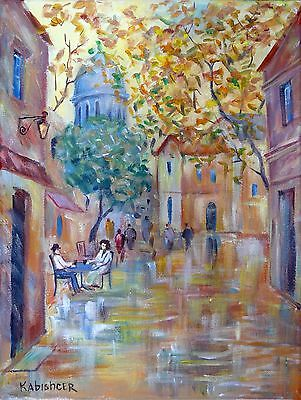 "Paris City in Autumn Large Oil Painting 28"" / 70cm France Montmartre Winter Fall"