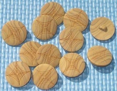 FANCY Set 12 Vintage New Wood Wooden Buttons Pressed SURFACE DESIGN 13/16""