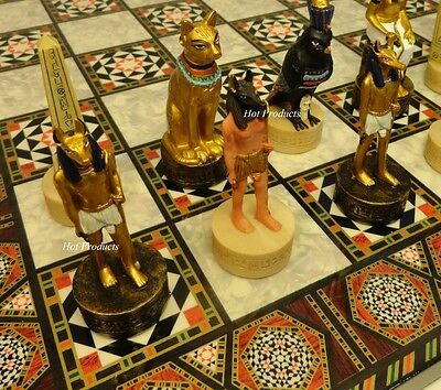 "Egyptian Chess Set W/ Mosaic Design Board 17"" Egypt"