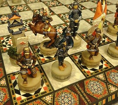 "*NEW* JAPANESE SAMURAI WARRIOR CHESS SET  W/ MOSAIC DESIGN BOARD 17"" Oriental"