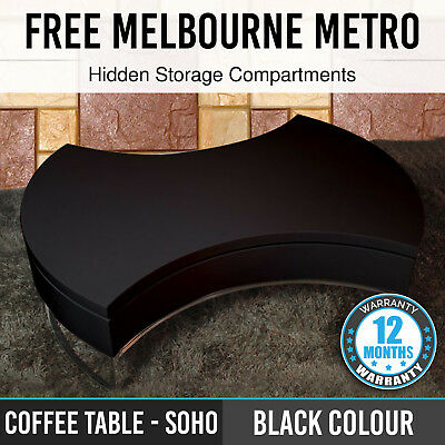 New Stylish Black Coffee Table High Gloss Swivel Top Smart Hidden Storage Soho