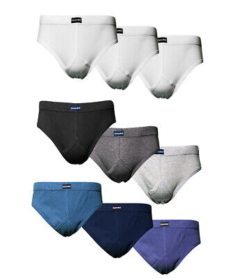 CARGO BAY 3 Pack Mens Y-Front Briefs Plain Cotton Underwear Everyday Comfortable