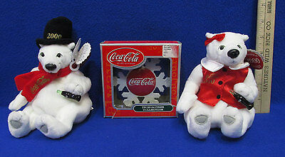 Coca Cola Coke Two 2000 Bean Bag Polar Bears & One Snowflake Ornament Lot Of 3