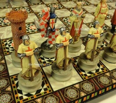 MEDIEVAL TIMES CRUSADES Arabian Vs Christian CHESS SET W MOSAIC DESIGN BOARD 14""