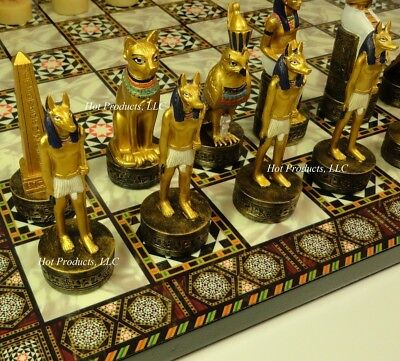 "Egyptian Chess Set W/ Mosaic Design Board 14"" Egypt"