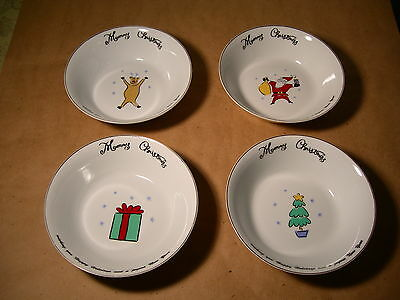 Merry Brite Christmas Stoneware Soup /  Cereal Bowls White  Gold Edges