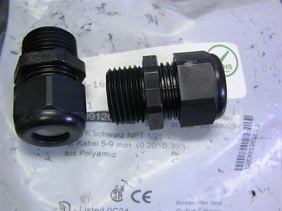"""5 Hummel AG 1.209.1201.71 Black 1/2""""NPT Industrial Cable Gland for 5-9mm Cable"""