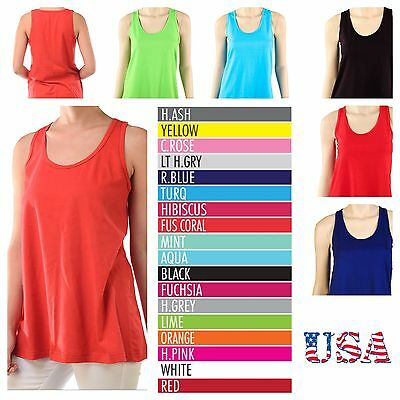 3f421a3c6c22ac Women s Loose Fit Tank Top Relaxed Sleeveless 100% Cotton Basic Plain Tee S  M L