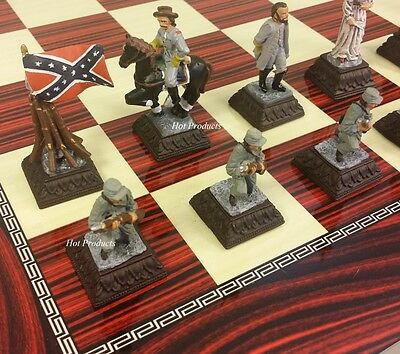 **** METAL PEWTER American US Civil War Chess Set W/ Cherry Color Board 17""
