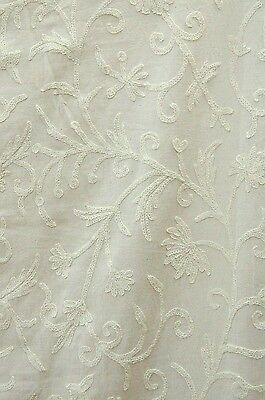 "Crewel Embroidered Upholstery Fabric Jacobean Off-White on Off-White 52""x 1 Yard"